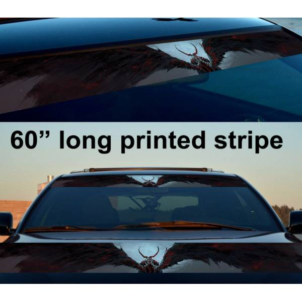 "60"" Devil Wings Fire Hot Sun Strip Printed Windshield Car Vinyl Sticker Decal"