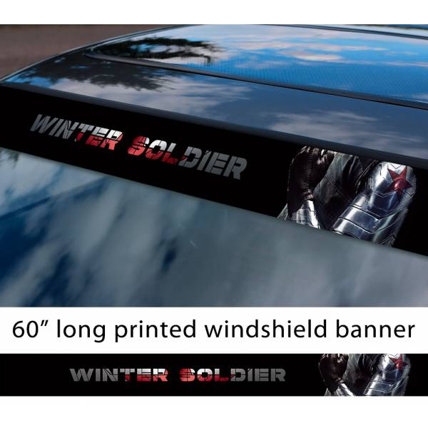"60"" Winter Soldier v1 Bucky Barnes Captain America Avengers Hydra Sun Strip Printed Windshield Car Vinyl Sticker Decal"