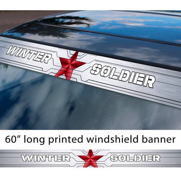 "60"" Winter Soldier Logo Star v2 Bucky Barnes Captain America Avengers Hydra Sun Strip Printed Windshield Car Vinyl Sticker Decal"