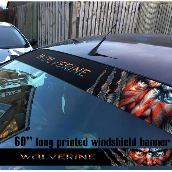 "60"" Wolverine Logan v2 X Men Xavier Comics Marvel Sun Strip Printed Windshield Car Vinyl Sticker Decal"