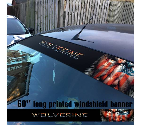 "60"" Wolverine Logan v3 X Men Xavier Comics Marvel Sun Strip Printed Windshield Car Vinyl Sticker Decal"