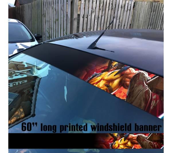 "60"" Wolverine Logan X Men Weapon X  Marvel Comics 2 Sun Strip Printed Windshield Car Vinyl Sticker Decal"