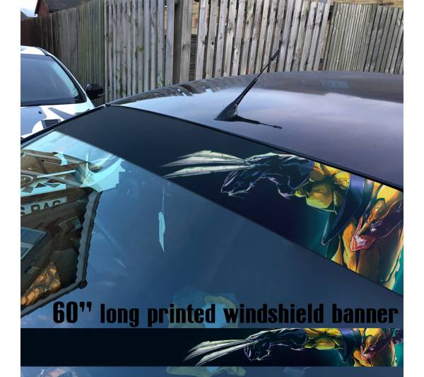 "60"" Wolverine Logan X-Men Mutant  Marvel Comics Sun Strip Printed Windshield Car Vinyl Sticker Decal"