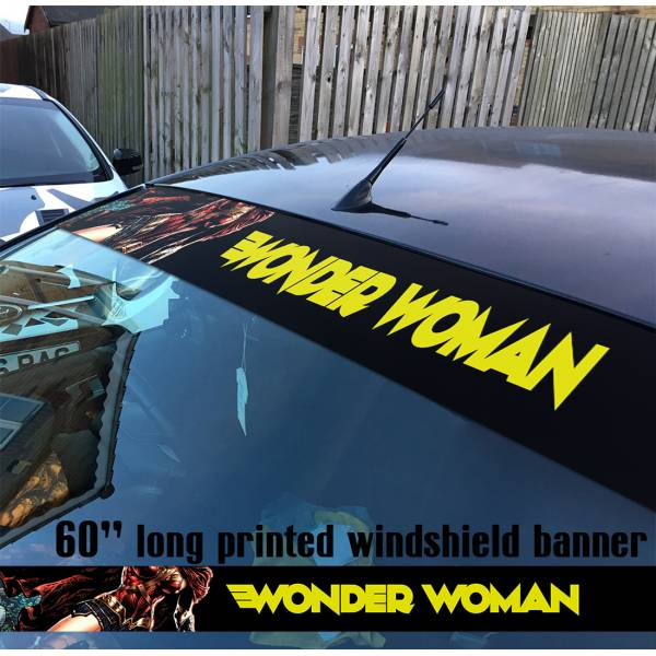 "60"" Wonder Woman Sexy Stars Logo Justice League DC Diana Prince Sun Strip Printed Windshield Car Vinyl Sticker Decal"