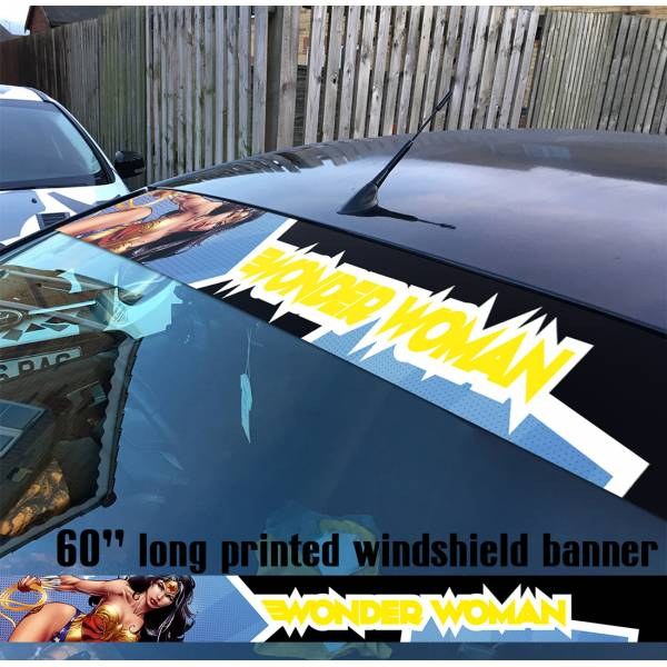 "60"" Wonder Woman Sexy Stars v2 Logo Justice League DC Diana Prince Sun Strip Printed Windshield Car Vinyl Sticker Decal"