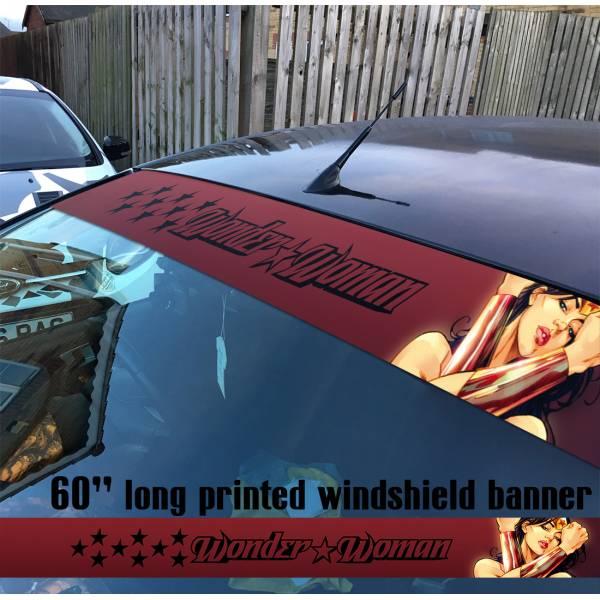 "60"" Wonder Woman Superheroine Stars Logo Justice League DC Diana Prince Sun Strip Printed Windshield Car Vinyl Sticker Decal"