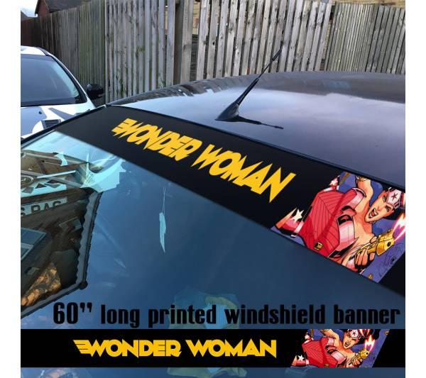 "60"" Wonder Woman Superheroine Sun Strip Printed Windshield Car Vinyl Sticker Decal"