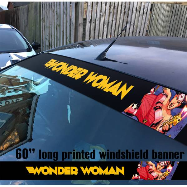 "60"" Wonder Woman Superheroine Sun Strip Printed Windshield Car Vinyl Sticker Decal"