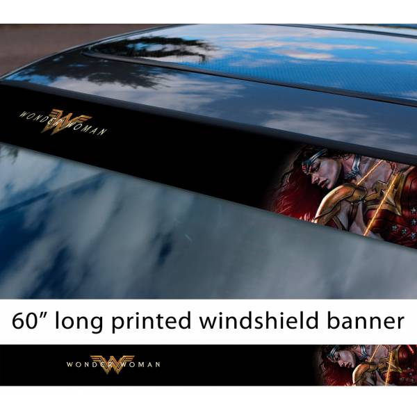 "60"" Wonder Woman Movie Logo v2 DC Comics Ares Sun Strip Printed Windshield Car Vinyl Sticker Decal"