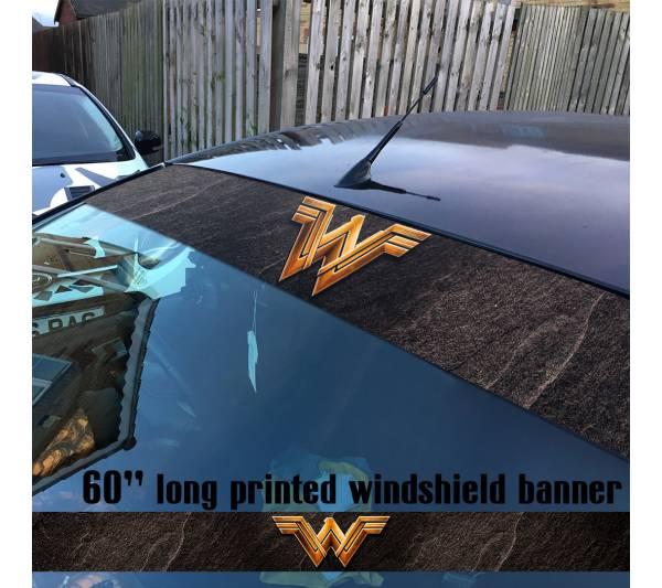 "60"" Wonder Woman Movie Logo DC Comics Ares Sun Strip Printed Windshield Car Vinyl Sticker Decal"