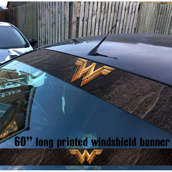 "60"" Wonder Woman Movie Logo DC Comics Ares Sun Strip Printed Windshield Car Vinyl Sticker Decal"