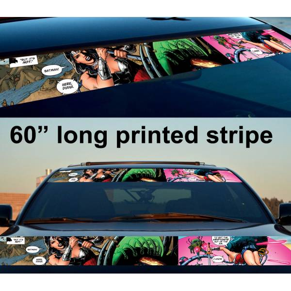 "60"" Diana Prince v1 Comic Woman Superhero Girl Sun Strip Printed Windshield Car Vinyl Sticker Decal>"