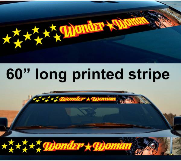 "60"" Wonder Woman v2 Sexy Logo Strip Printed Windshield Car Vinyl Sticker Decal"