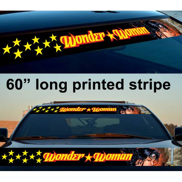 "60"" Wonder Woman v2 Sexy Logo Strip Printed Windshield Car Vinyl Sticker Decal"