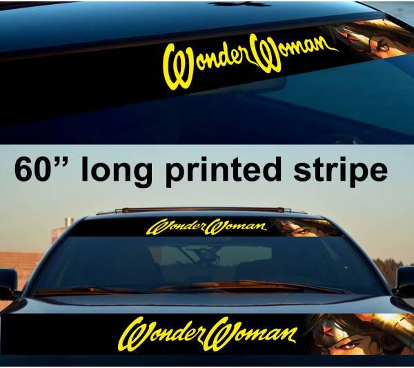 "60"" Wonder Woman v4 Girl Sun Strip Printed Windshield Car Vinyl Sticker Decal"