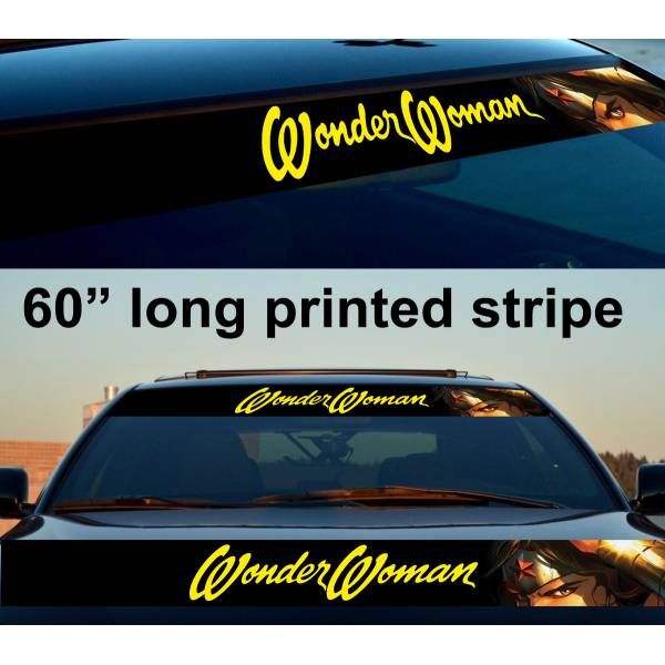 "60"" Wonder Woman v4 Girl Sun Strip Printed Windshield Car Vinyl Sticker Decal"