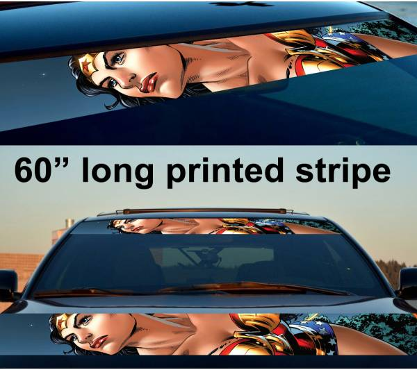 "60"" Wonder Woman v5 Sexy Logo Strip Printed Windshield Car Vinyl Sticker Decal"