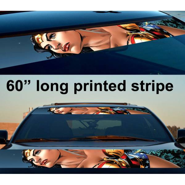 "60"" Diana Prince v5 Sexy Comic Woman Superhero Strip Printed Windshield Car Vinyl Sticker Decal>"