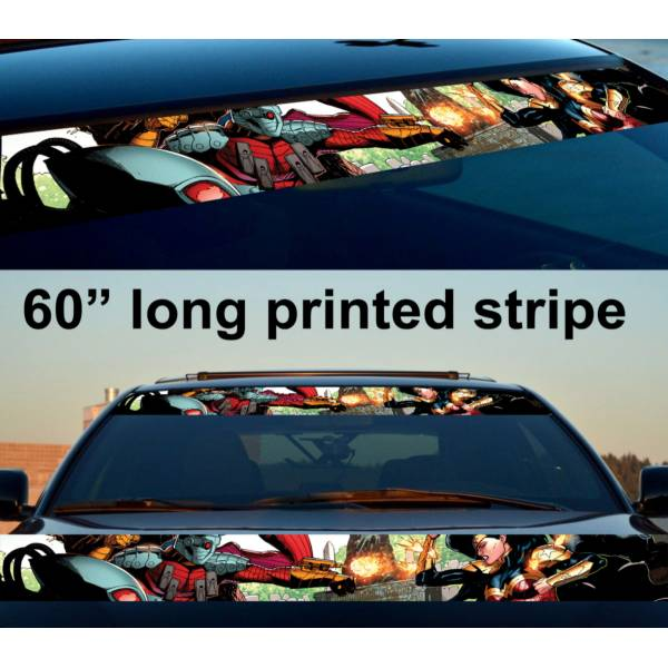 "60"" Floyd Lawton vs Diana Prince Suicide Comic Superhero Printed Windshield Banner Vinyl Sticker Decal>"