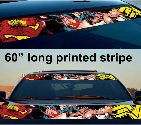 "60"" Wonder Super Man Woman Girl Man Strip Printed Windshield Car Vinyl Sticker Decal"