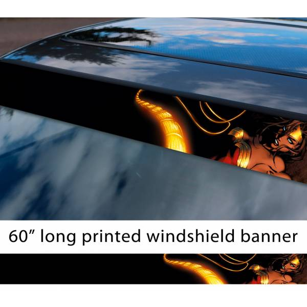 "60"" Wonder Woman Lasso v1 Diana Prince Gold Logo DC Comics Movie Sun Strip Printed Windshield Car Vinyl Sticker Decal"