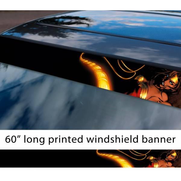 "60"" Wonder Woman Lasso v1 Diana Prince Gold Logo DC Comics Movie Sun Strip Printed Windshield Car Vinyl Sticker Decal"