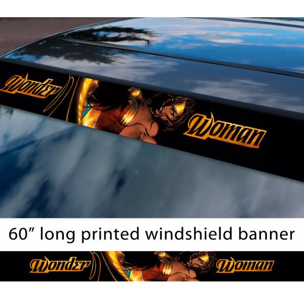 "60"" Wonder Woman Lasso v2 Diana Prince Gold Logo DC Comics Movie Sun Strip Printed Windshield Car Vinyl Sticker Decal"