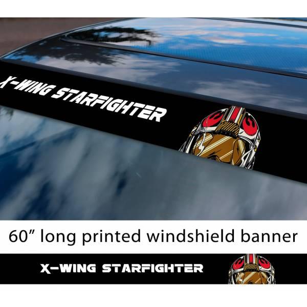 "60"" Rebel Alliance X-Wing Fighter Helmet Darth Galactic Empire Sun Strip Printed Car Vinyl Sticker Decal>"
