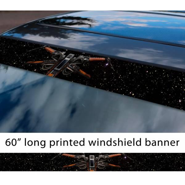 "60"" X-Wing Starfighter Rebel Alliance TIE Galactic Empire Sun Strip Printed Car Vinyl Sticker Decal>"