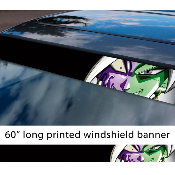 "60"" Zamasu Merged Saiyan v1 Dragon Z DBZ Super Black Goku Manga Anime Sun Strip Printed Windshield Car Vinyl Sticker Decal>"