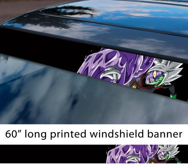"60"" Zamasu Merged Saiyan v2 Dragon Ball Z DBZ Super Black Goku Manga Anime Sun Strip Printed Windshield Car Vinyl Sticker Decal"