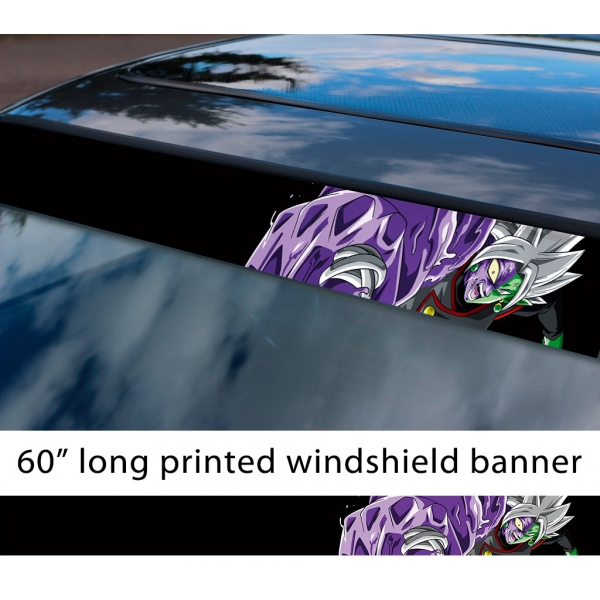 "60"" Zamasu Merged Saiyan v2 Dragon Z DBZ Super Black Goku Manga Anime Sun Strip Printed Windshield Car Vinyl Sticker Decal>"