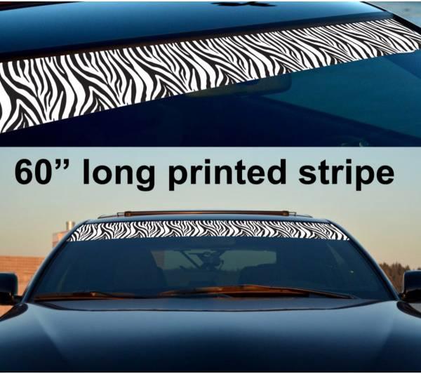 "60"" Zebra Woman Lady Driven Sun Strip Printed Windshield Car Vinyl Sticker Decal"