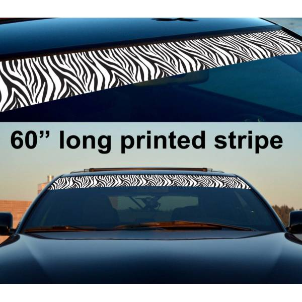 "60"" Zebra Woman Lady Driven Sun Strip Printed Windshield Car Vinyl Sticker Decal"
