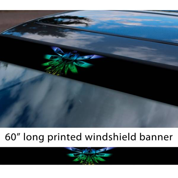 "60"" Legend v2 Link Game Majora's Mask Hyrule Princess Ganon Sword Sun Strip Printed Windshield Car Vinyl Sticker Decal>"