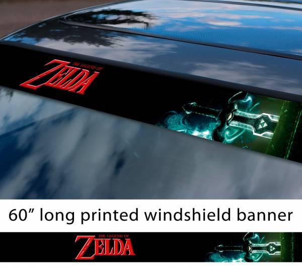 """60"""" Legend of Zelda v3 Link Game Majora's Mask Hyrule Princess Ganon Sword Sun Strip Printed Windshield Car Vinyl Sticker Decal"""