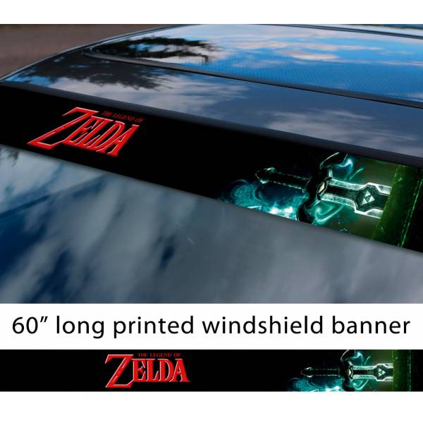 "60"" Legend of Zelda v3 Link Game Majora's Mask Hyrule Princess Ganon Sword Sun Strip Printed Windshield Car Vinyl Sticker Decal"