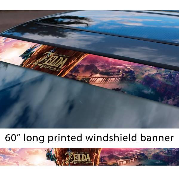 """60"""" Legend of Zelda v4 Link Game Majora's Mask Hyrule Princess Ganon Sword Sun Strip Printed Windshield Car Vinyl Sticker Decal"""