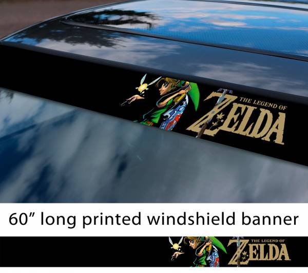 "60"" Legend of Zelda v5 Link Game Majora's Mask Hyrule Princess Ganon Sword Sun Strip Printed Windshield Car Vinyl Sticker Decal"