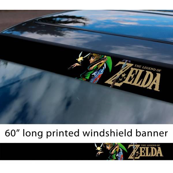 """60"""" Legend of Zelda v5 Link Game Majora's Mask Hyrule Princess Ganon Sword Sun Strip Printed Windshield Car Vinyl Sticker Decal"""