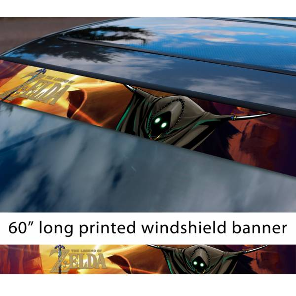 "60"" Legend of Zelda v6 Garo Link Game Majora's Mask Hyrule Princess Ganon Sword Sun Strip Printed Windshield Car Vinyl Sticker Decal"