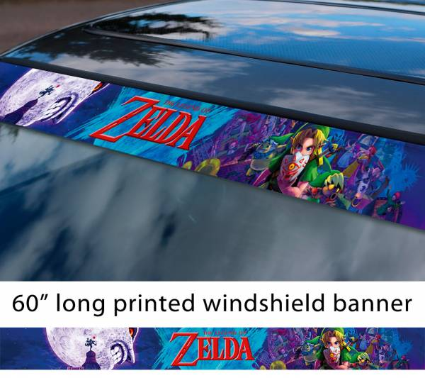 "60"" Legend of Zelda v7 Link Game Majora's Mask Hyrule Princess Ganon Sword Sun Strip Printed Windshield Car Vinyl Sticker Decal"
