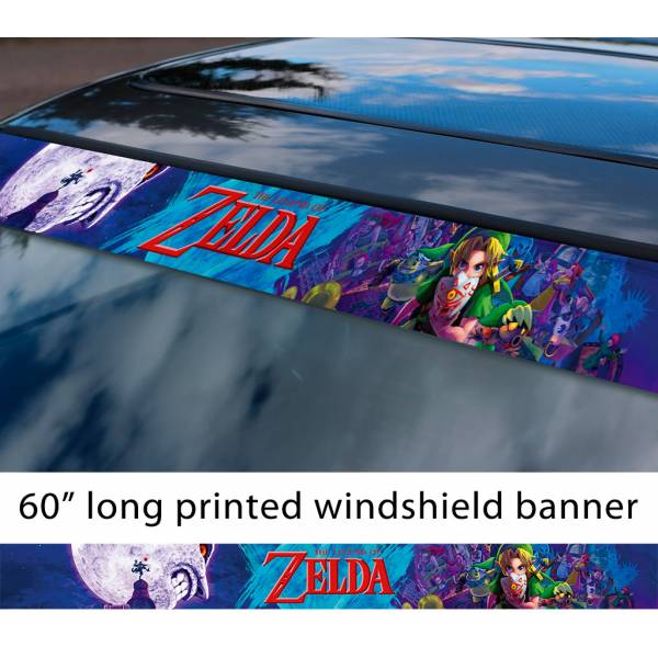 """60"""" Legend of Zelda v7 Link Game Majora's Mask Hyrule Princess Ganon Sword Sun Strip Printed Windshield Car Vinyl Sticker Decal>"""