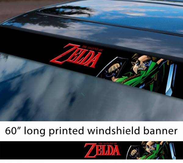 "60"" Legend of Zelda v9 Link Game Majora's Mask Hyrule Princess Ganon Sword Sun Strip Printed Windshield Car Vinyl Sticker Decal"