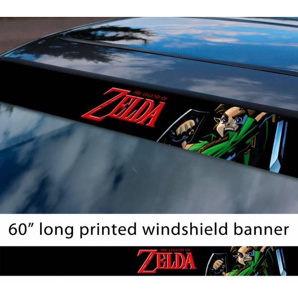 """60"""" Legend of Zelda v9 Link Game Majora's Mask Hyrule Princess Ganon Sword Sun Strip Printed Windshield Car Vinyl Sticker Decal"""