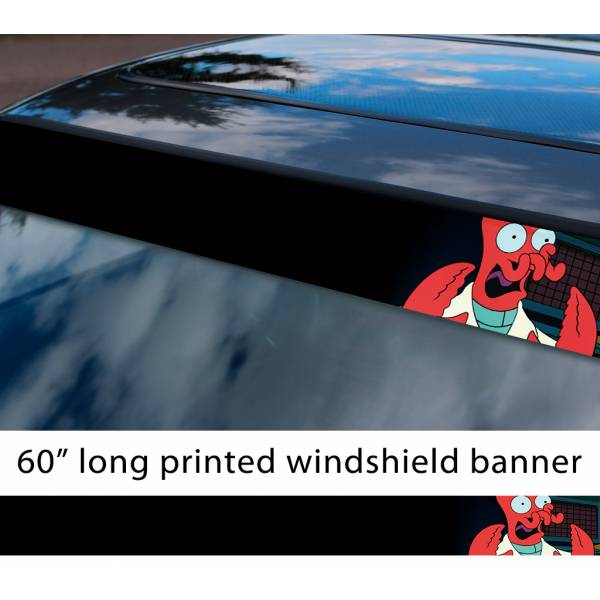 "60"" Doctor Dr Zoidberg Whoop Futurama Geek Funny Sun Strip Printed Windshield Car Vinyl Sticker Decal"
