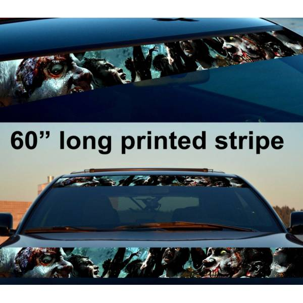 "60"" Zombie Walking v1 Skull Sun Strip Printed Windshield Car Vinyl Sticker Decal>"