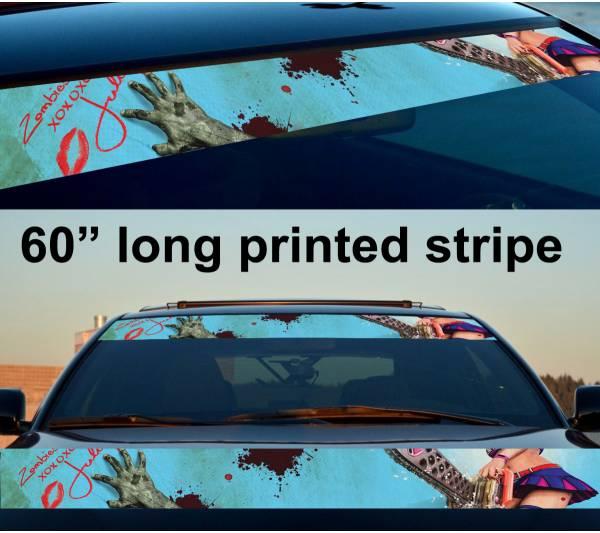 "60"" Sexy Zombie Girl Walking Sun Strip Printed Windshield Vinyl Sticker Decal"