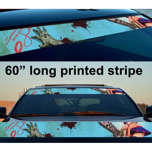 "60"" Sexy Zombie Girl Walking Sun Strip Printed Windshield Vinyl Sticker Decal"