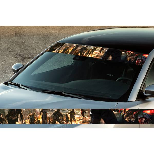 "60"" Zombie Walling Blood Dead Printed Windshield Banner Wrap Vinyl Sticker Car Truck"